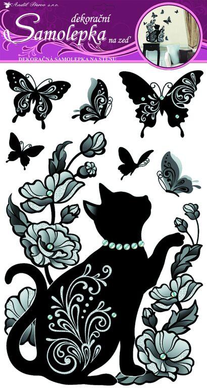 Samolepky pokoj. dekorace černé kotě s glitry a kamínky 60x32cm /1016/