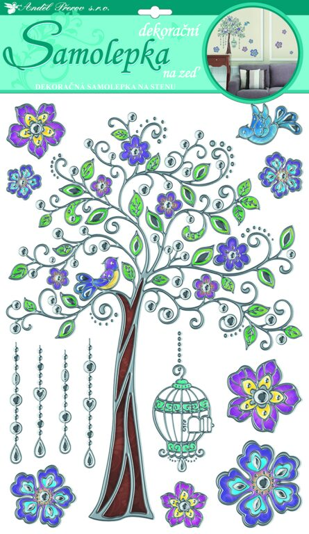 Samolepky pokoj. dekorace barevný strom se stř. konturou 49x29cm /10021/