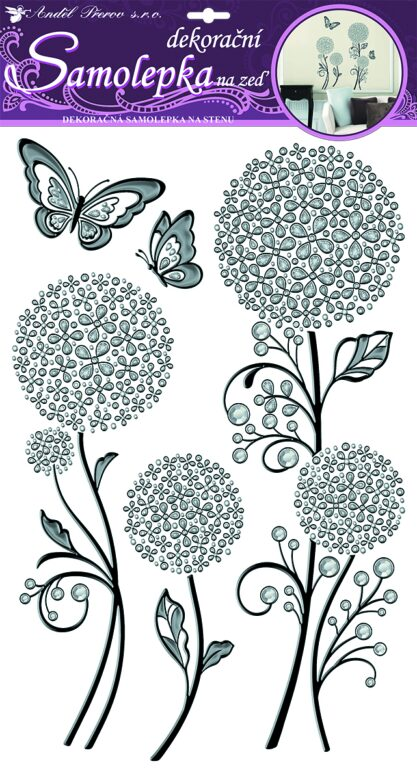 Samolepky pokoj. dekorace stříb. pampelišky s černou konturou 60x32cm /10023/