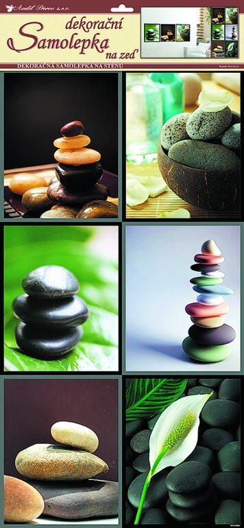 Samolepky pokoj. dekorace kameny s anturií 69x32cm /10029/