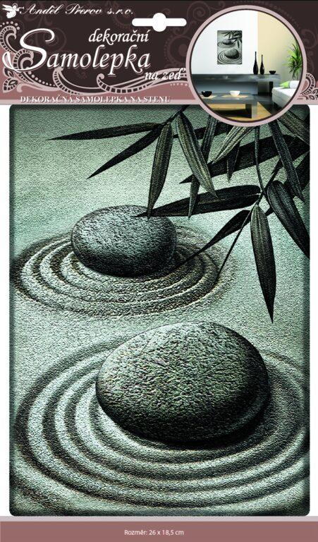 Samolepky pokoj. dekorace 3D dva plastické kameny 24x18,5cm /10040/