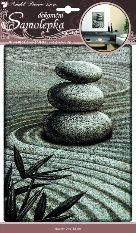 Samolepky pokoj. dekorace 3D tři plastické kameny 31x18,5cm /10041/