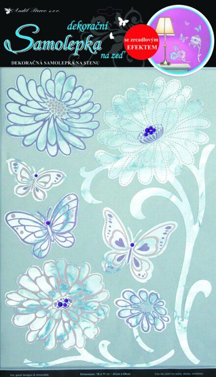 Samolepky pokoj. dekorace květy s růž. konturou zrcadlové,49x29cm /1051/