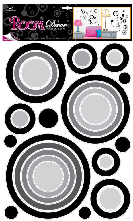 Samolepky pokoj. dekorace kruhy černé, 70x42 cm /1056/
