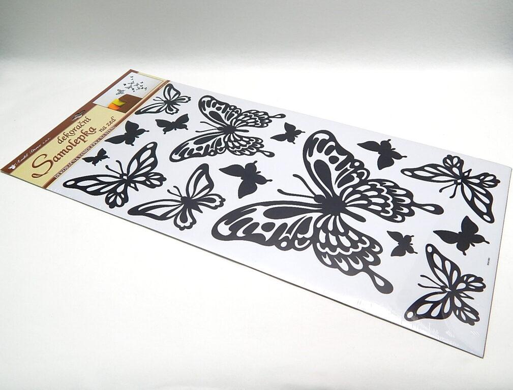 Samolepky pokoj. dekorace motýli černí, 69x30cm /1083/