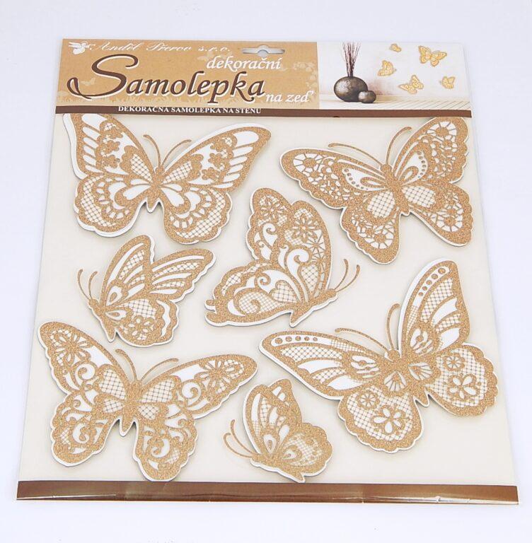 Samolepky pokoj. dekorace Motýli s prostor.křídly zlatí /10186/