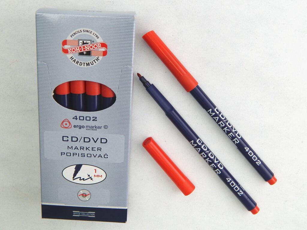 popisovač CD/DVD 4002 červený trojhranný