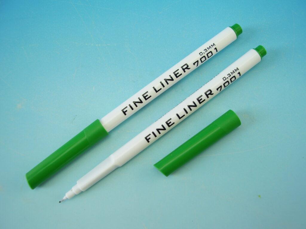 popisovač 7001 fine liner zelený trojhranný