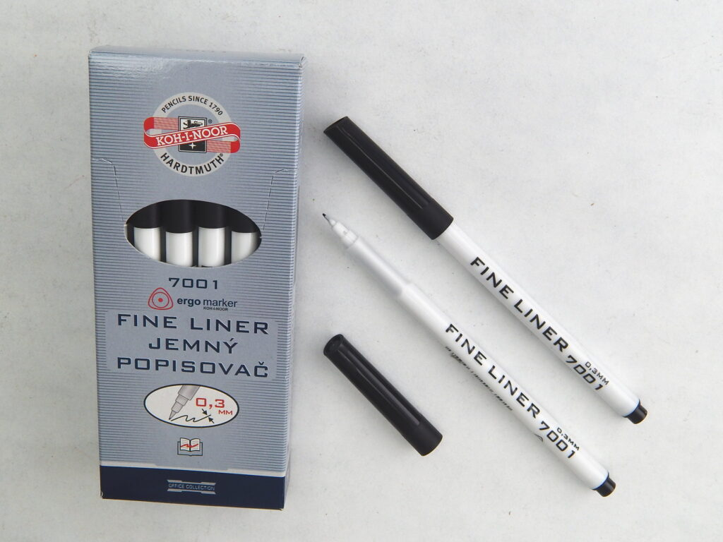 popisovač 7001 fine liner černý trojhranný