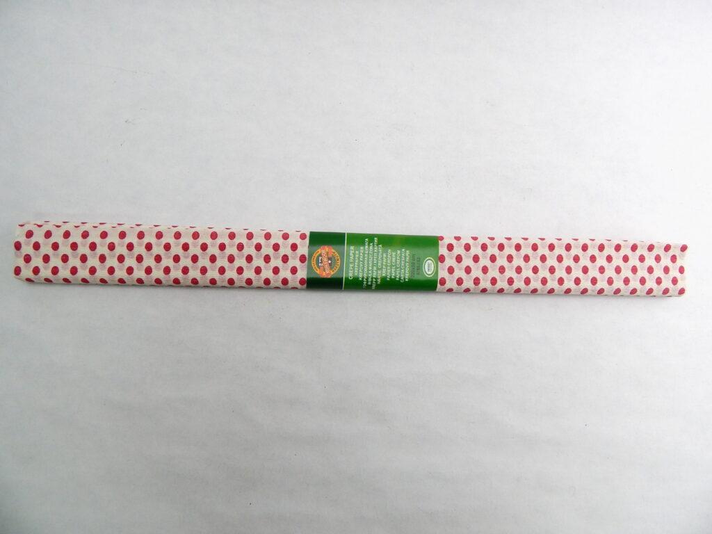 Papír krepový 9755/53 BÍL+červené tečky