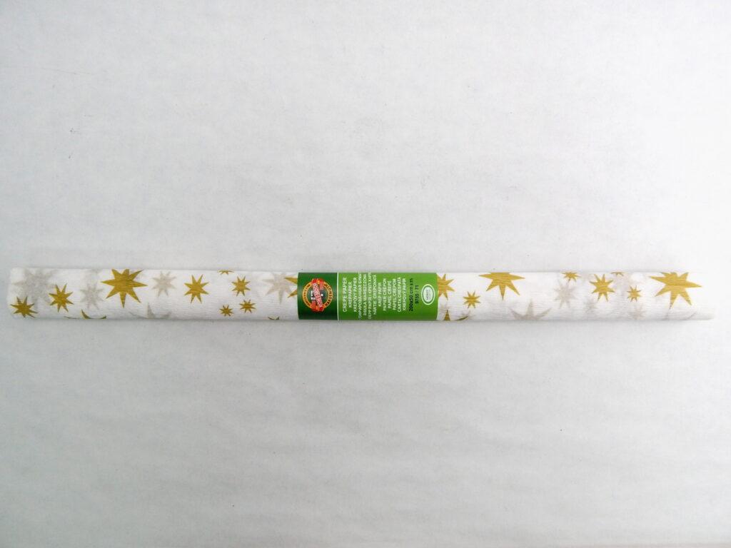 Papír krepový 9755/71bílý se zlatou hvězdou