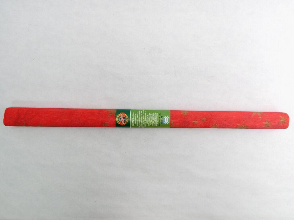 Papír krepový 9755/73 červený se zlatou hvězdou