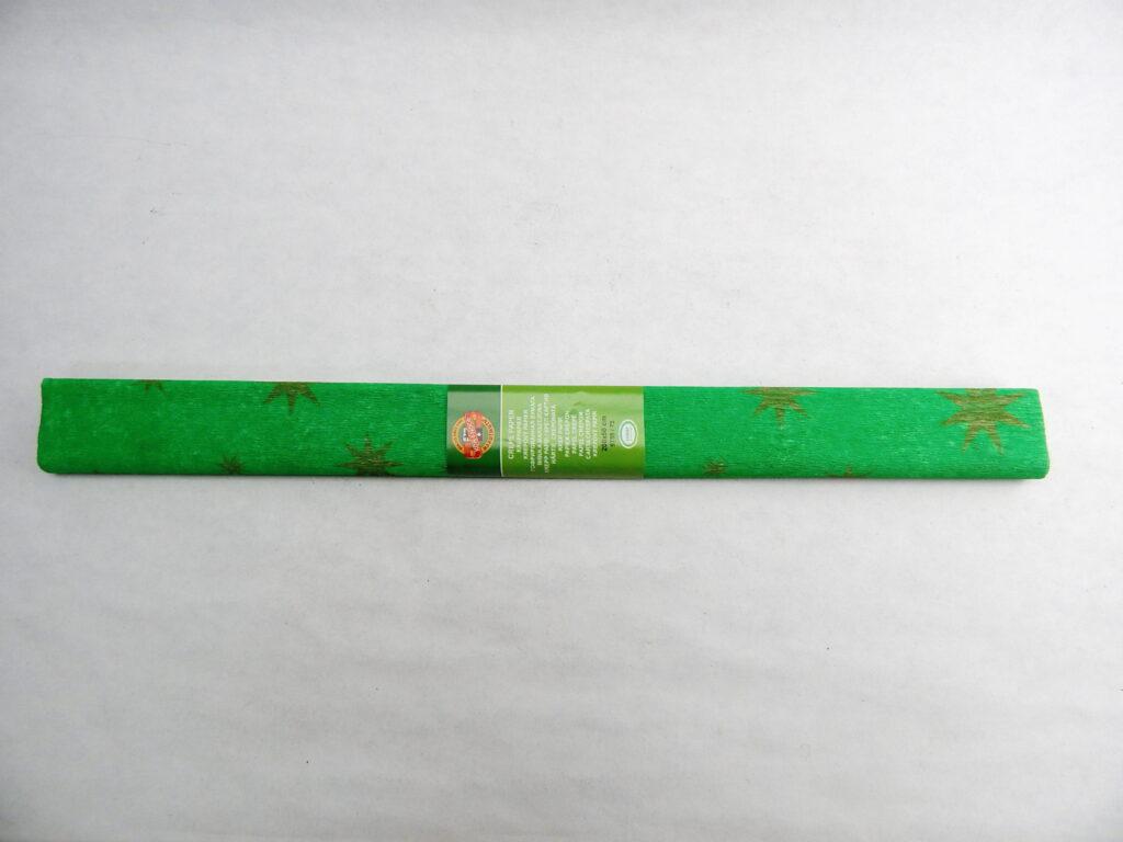 Papír krepový 9755/75 zelený se zlatou hvězdou